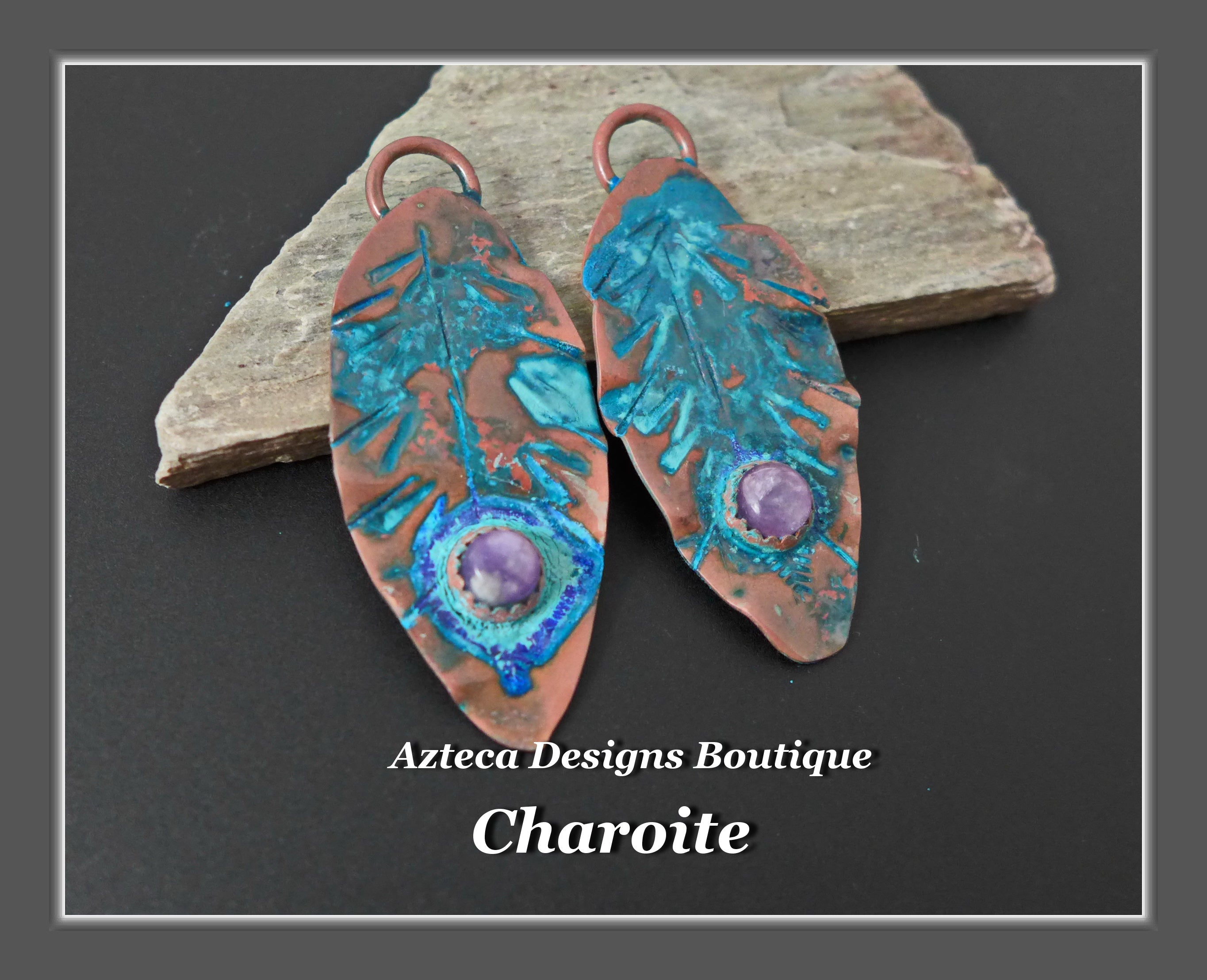 Copper+Charoite+Feather Charm PAIR Large