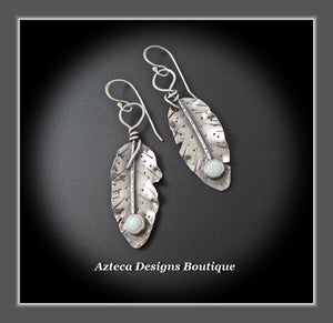 Her Wings+Cultured Sterling Opal+Hand Fabricated Rustic Argentium Silver Feather Earrings