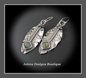 RESERVED FOR ANNA!! Her Wings+Labradorite+Hand Fabricated Rustic Argentium Silver Feather Earrings