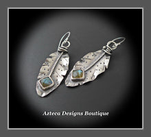 Load image into Gallery viewer, RESERVED FOR ANNA!! Her Wings+Labradorite+Hand Fabricated Rustic Argentium Silver Feather Earrings