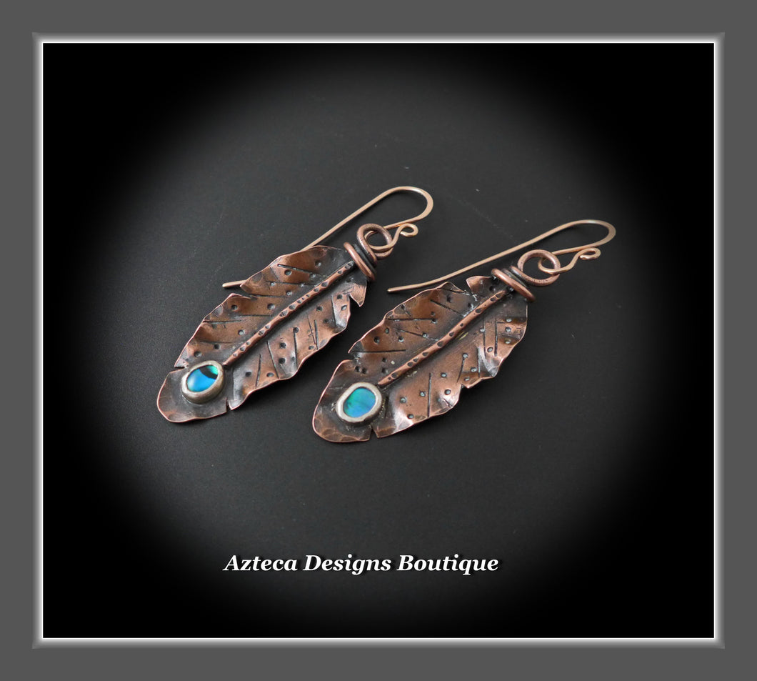 Her Wings+Abalone+Hand Fabricated Rustic Copper+Rose Gold Filled Ear Wires+Feather Earrings