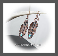 Load image into Gallery viewer, Her Wings+Abalone+Hand Fabricated Rustic Copper+Rose Gold Filled Ear Wires+Feather Earrings