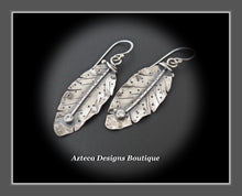 Load image into Gallery viewer, Her Wings+White Topaz+Hand Fabricated Rustic Argentium Silver Feather Earrings