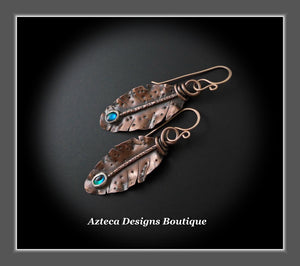 Her Wings+Abalone+Hand Fabricated Rustic Copper+Rose Gold Filled Ear Wires+Feather Earrings #2