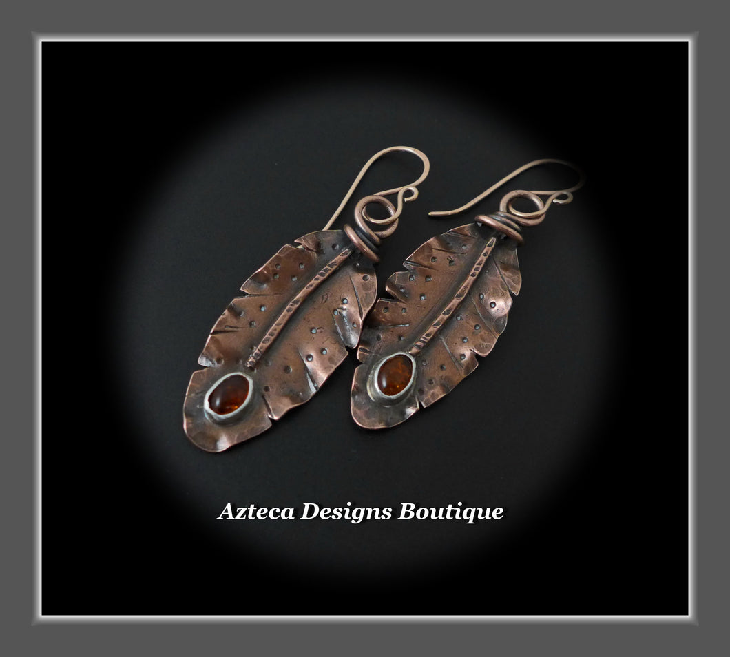 Her Wings+Baltic Amber+Hand Fabricated Rustic Copper+Rose Gold Filled Ear Wires+Feather Earrings