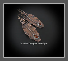 Load image into Gallery viewer, Her Wings+Baltic Amber+Hand Fabricated Rustic Copper+Rose Gold Filled Ear Wires+Feather Earrings