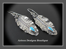 Load image into Gallery viewer, Her Wings+Sleeping Beauty Turquoise+Hand Fabricated Rustic Argentium Silver Feather Earrings