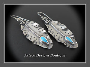 Her Wings+Sleeping Beauty Turquoise+Hand Fabricated Rustic Argentium Silver Feather Earrings