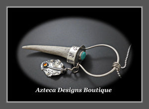 Wyoming Antler Point+Sierra Nevada Turquoise+Amber+Hand Fabricated Sterling Silver Necklace