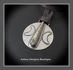 Rising Moon+Cultured Sterling Opal+Sterling Silver Hand Fabricated Pendant on Leather