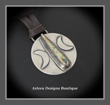 Load image into Gallery viewer, Rising Moon+Cultured Sterling Opal+Sterling Silver Hand Fabricated Pendant on Leather