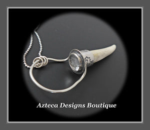 Wyoming Antler Point+Clear Quartz+Hand Fabricated Sterling Silver Necklace