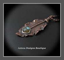 Load image into Gallery viewer, Her Wings+Labradorite+Hand Fabricated Rustic Copper Feather Necklace