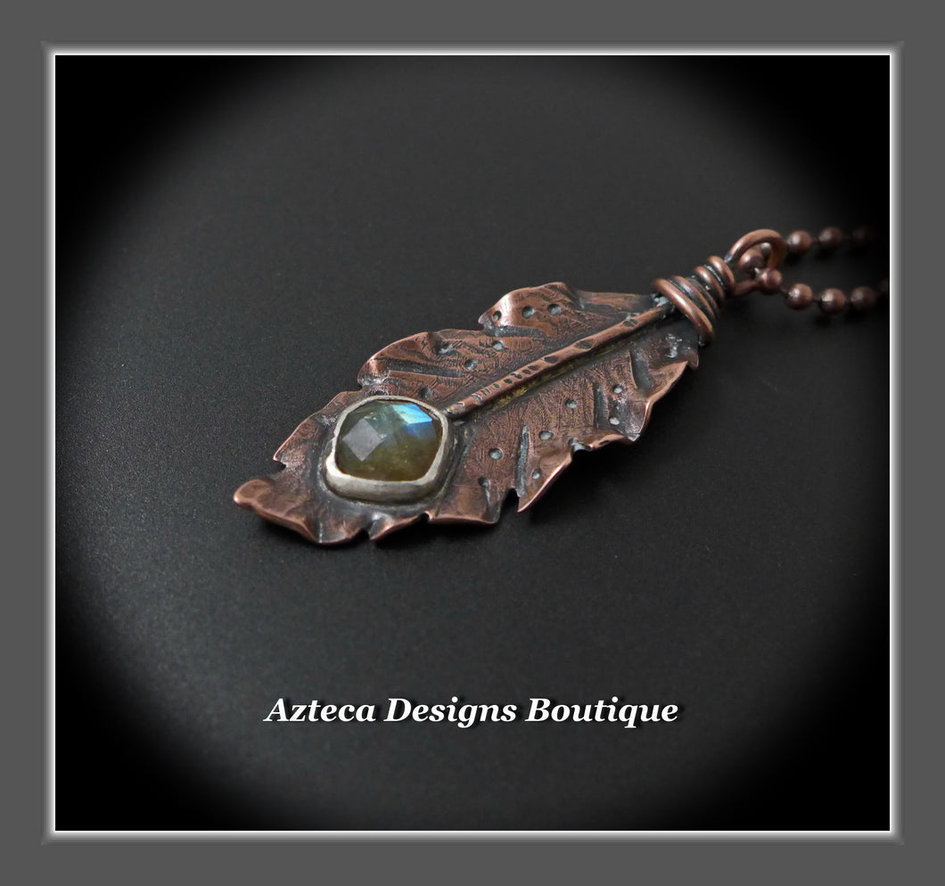 Her Wings+Labradorite+Hand Fabricated Rustic Copper Feather Necklace