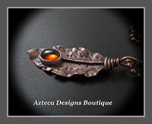 Load image into Gallery viewer, Her Wings+Baltic Amber+Hand Fabricated Rustic Copper Feather Necklace