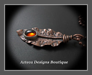 Her Wings+Baltic Amber+Hand Fabricated Rustic Copper Feather Necklace