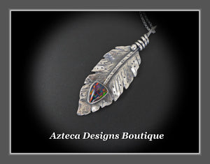Her Wings+Synthetic 'Opal'+Hand Fabricated Rustic Sterling Silver Feather Necklace