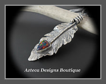 Load image into Gallery viewer, Her Wings+Synthetic 'Opal'+Hand Fabricated Rustic Sterling Silver Feather Necklace