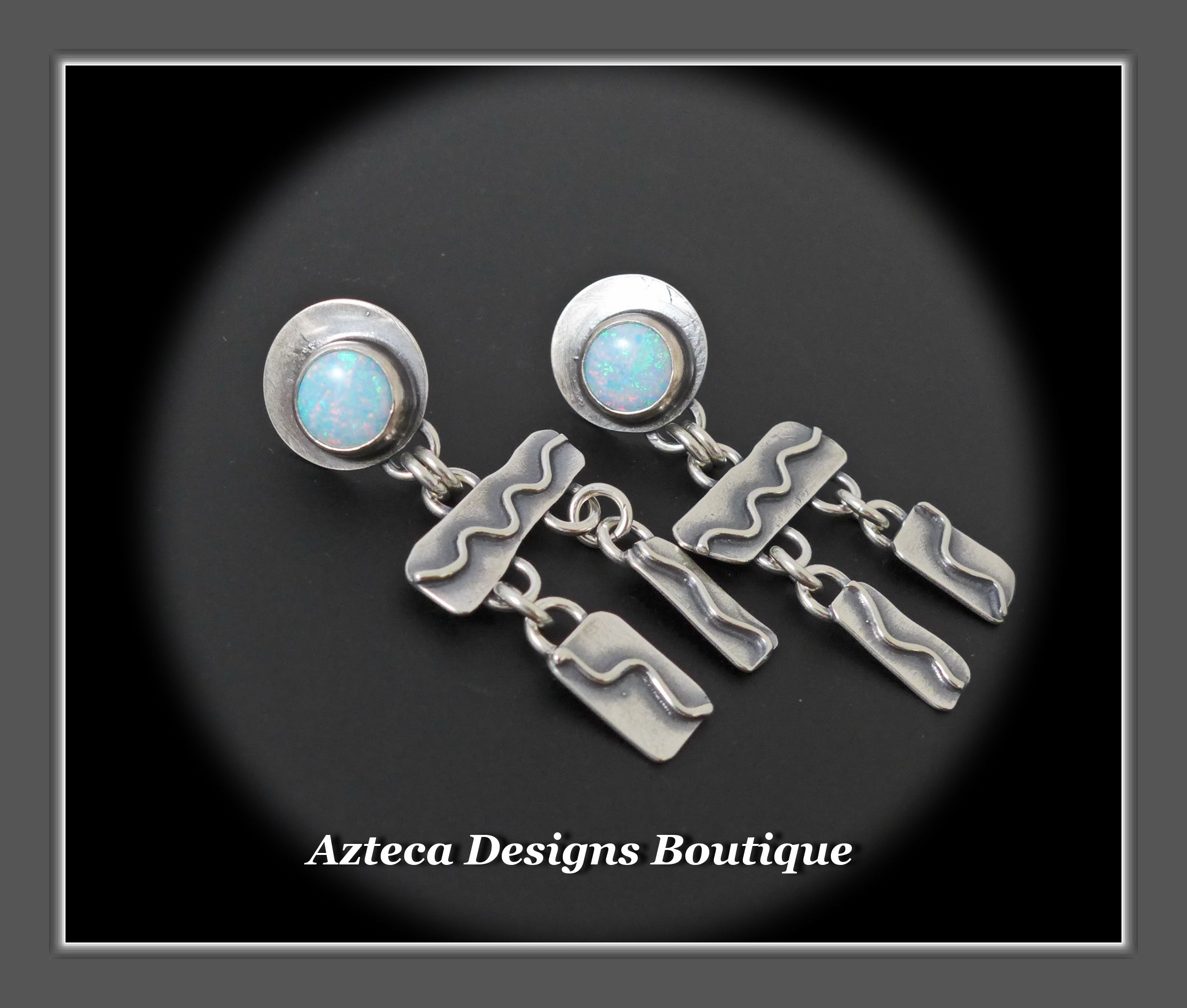 Desert Wind+Cultured Sterling Opal+Sterling Silver Hand Fabricated Post Earrings