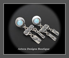 Load image into Gallery viewer, Desert Wind+Cultured Sterling Opal+Sterling Silver Hand Fabricated Post Earrings