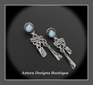 Desert Rain+Cultured Sterling Opal+Sterling Silver Hand Fabricated Post Earrings