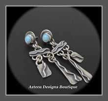 Load image into Gallery viewer, Desert Rain+Cultured Sterling Opal+Sterling Silver Hand Fabricated Post Earrings