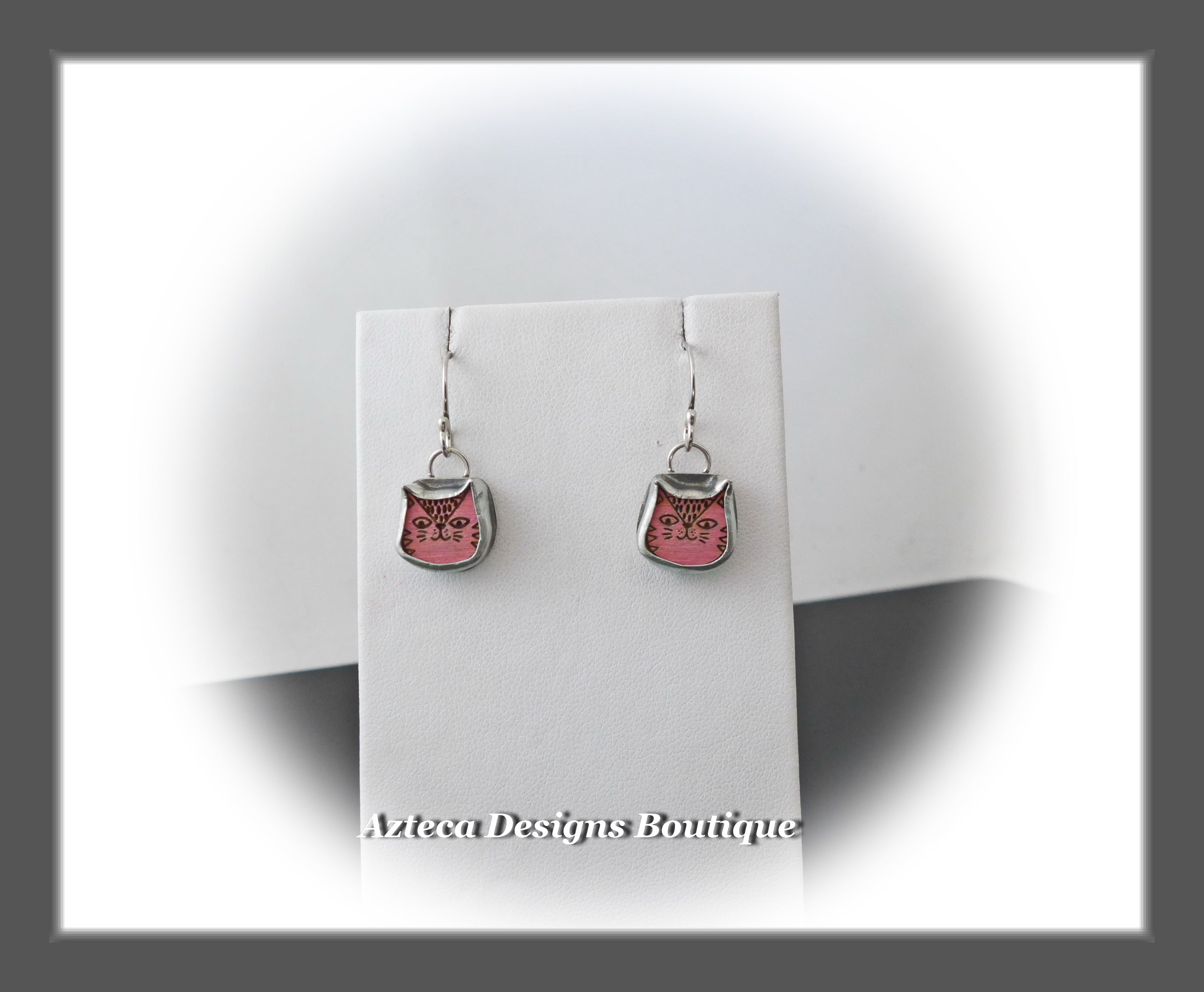 Pink Kitty Cat+Hand Fabricated Argentium Silver Dangle Earrings