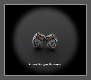 Blue Owl+Hand Fabricated Argentium Silver Post Earrings