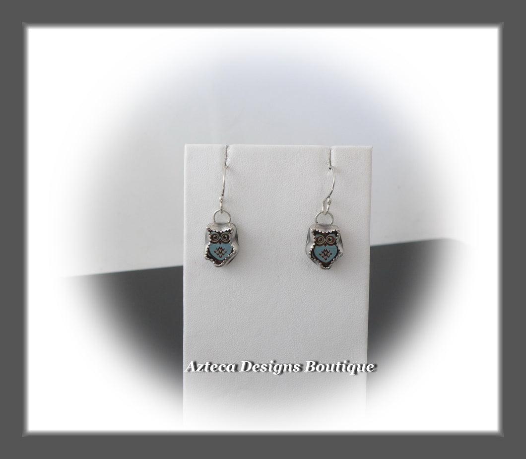 Blue Owl+Hand Fabricated Argentium Silver Dangle Earrings