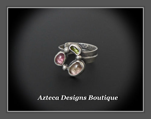 Size 9+Shades of Tourmaline+Sterling Silver+Hand Fabricated Artisan Ring