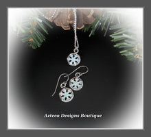 Load image into Gallery viewer, Snowflake+Glittery White Aura Opal+Hand Fabricated Sterling Silver Necklace+Earrings+Set