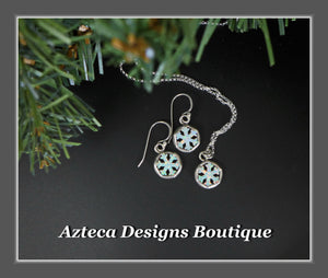 Snowflake+Glittery White Aura Opal+Hand Fabricated Sterling Silver Necklace+Earrings+Set