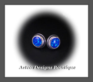 Aura Opal Blue+Hand Fabricated Sterling Silver Post Earrings