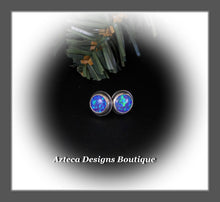 Load image into Gallery viewer, Aura Opal Indigo+Hand Fabricated Sterling Silver Post Earrings