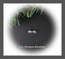 Load image into Gallery viewer, Aura Opal Purple Confetti+Hand Fabricated Sterling Silver Post Earrings