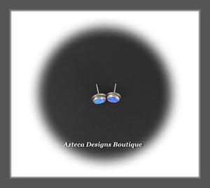 Aura Opal Indigo+Hand Fabricated Sterling Silver Post Earrings