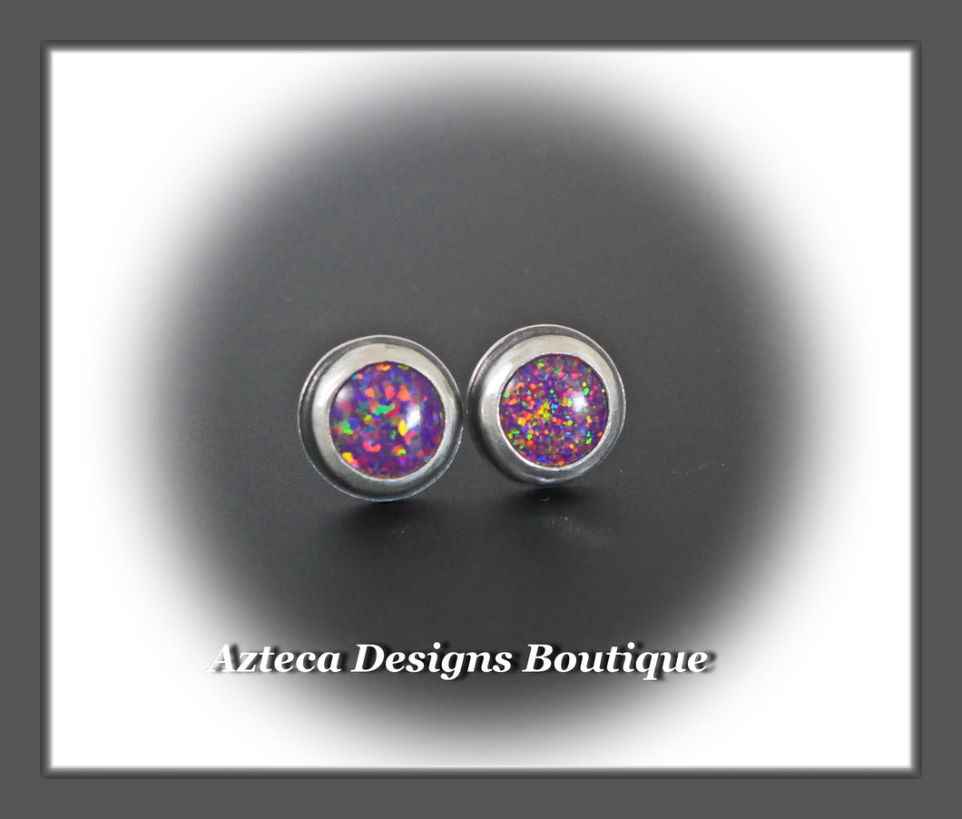 Aura Opal Purple Confetti+Hand Fabricated Sterling Silver Post Earrings