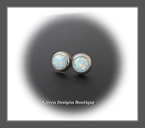 Aura Opal White+Hand Fabricated Sterling Silver Post Earrings