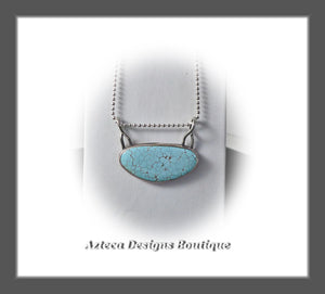 Number 8 Mine High Grade Turquoise+Hand Fabricated Sterling Silver+Bar Style Necklace Pendant