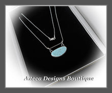 Load image into Gallery viewer, Number 8 Mine High Grade Turquoise+Hand Fabricated Sterling Silver+Bar Style Necklace Pendant