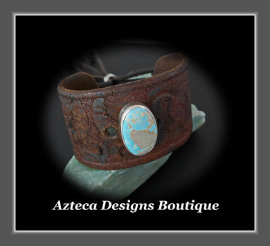 An Old Old Story+Upcycled Leather Belt Cuff+Royston Turquoise+Unisex Bracelet