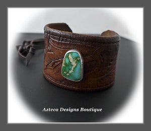 An Old Old Story+Upcycled Leather Belt Cuff+Manassa Turquoise+Unisex Bracelet 3