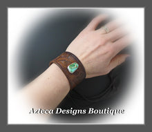 Load image into Gallery viewer, An Old Old Story+Upcycled Leather Belt Cuff+Manassa Turquoise+Unisex Bracelet 3