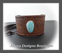 Load image into Gallery viewer, An Old Old Story+Upcycled Leather Belt Cuff+Number 8 Turquoise+Unisex Bracelet 5