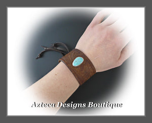 An Old Old Story+Upcycled Leather Belt Cuff+Number 8 Turquoise+Unisex Bracelet 5