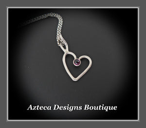 Rhodolite Garnet+Sterling Silver+Hand Fabricated Heart Necklace+Simply Her