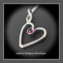Load image into Gallery viewer, Rhodolite Garnet+Sterling Silver+Hand Fabricated Heart Necklace+Simply Her