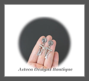Desert Elements+Rutilated Quartz+Sterling Silver+Hand Fabricated Post Earrings