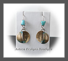 Load image into Gallery viewer, Twist+Nevada Turquoise+Hand Fabricated Silver+Brass+Artisan Earrings