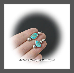 Arizona Turquoise Nuggets+Hand Fabricated Silver+Asymmetrical Earrings+Embracing Individuality